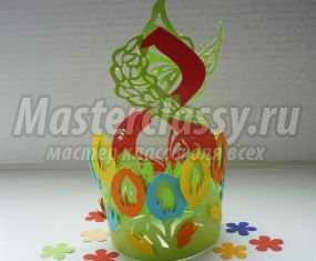 Открытка к 8 Марта в технике киригами. Восьмерка в цветах. Мастер-класс с пошаговыми фото