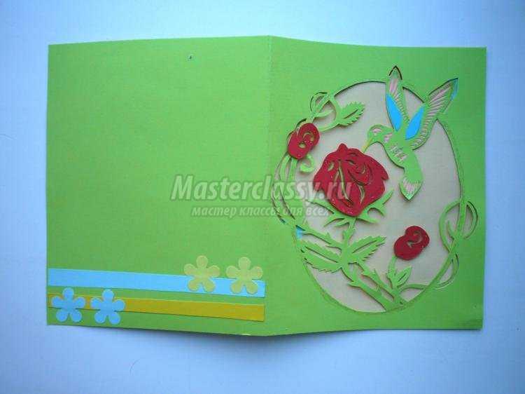 киригами резная открытка к 8 Марта. Колибри