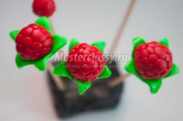 Украшения из полимерной глины малинки