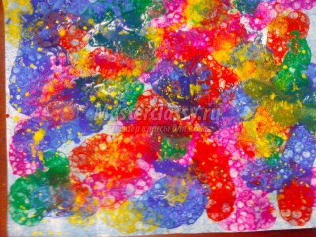 открытка в технике рисование мыльной пеной. С 8 Марта