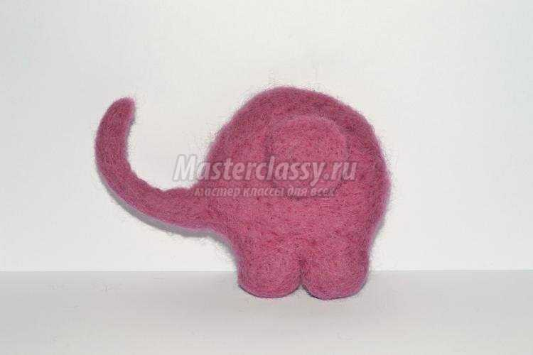 сухое валяние брошь. Розовый слоник