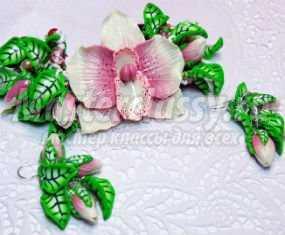 Браслет и серьги из полимерной глины. Орхидея. Мастер-класс с пошаговыми фото