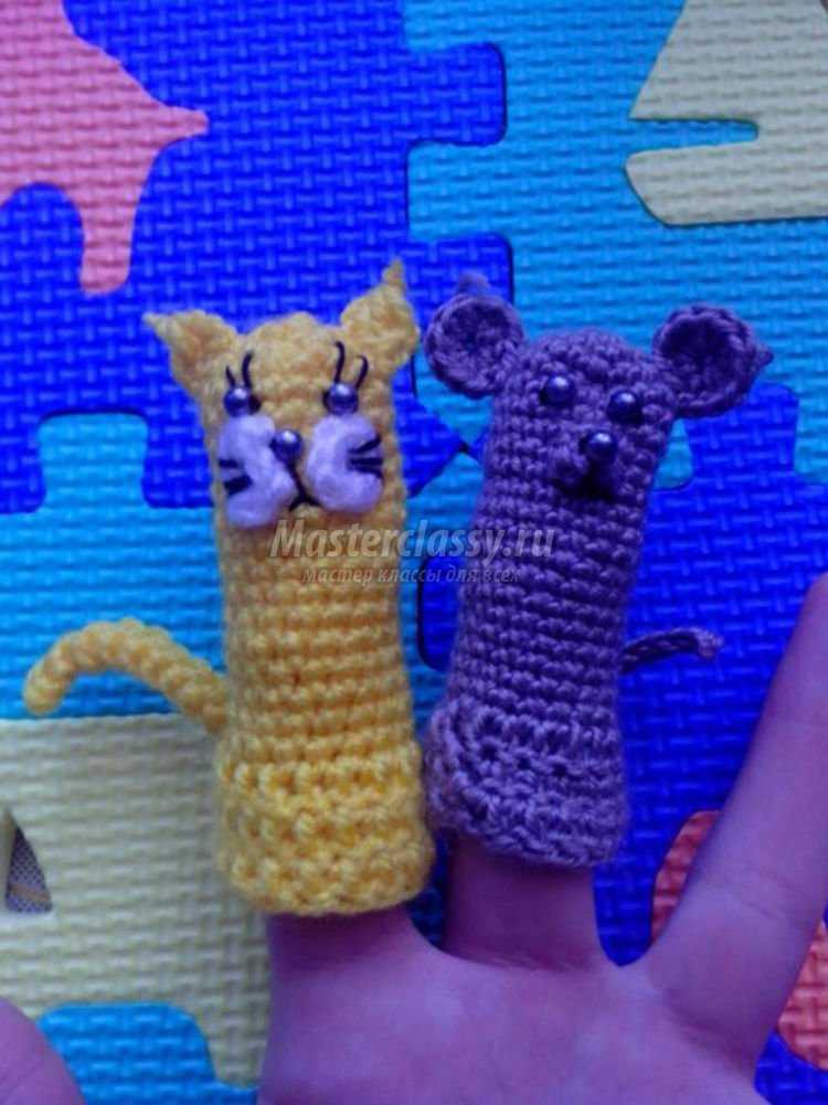 вязаные пальчиковые игрушки для театра. Кошки-мышки