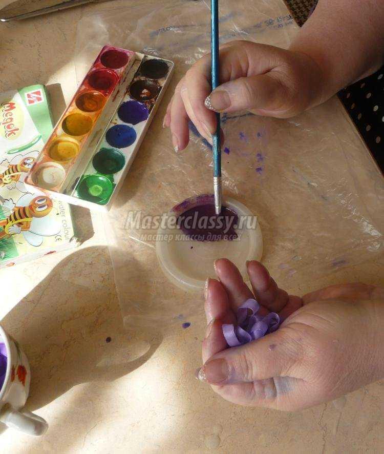 окрашивание лент акриловыми красками