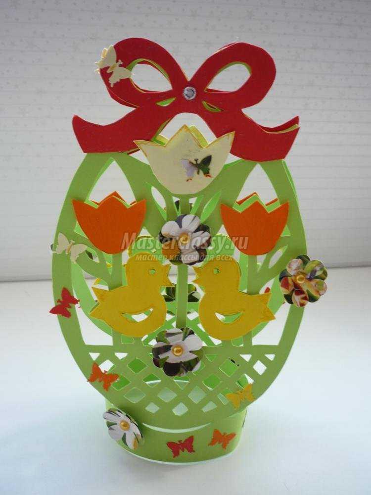резная пасхальная открытка киригами. Яйцо с цыплятами