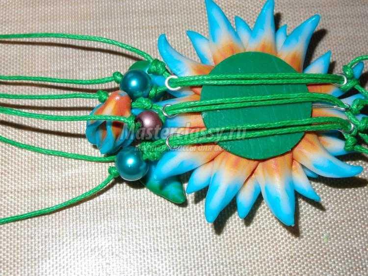 браслет и серьги из полимерной глины. Цветы