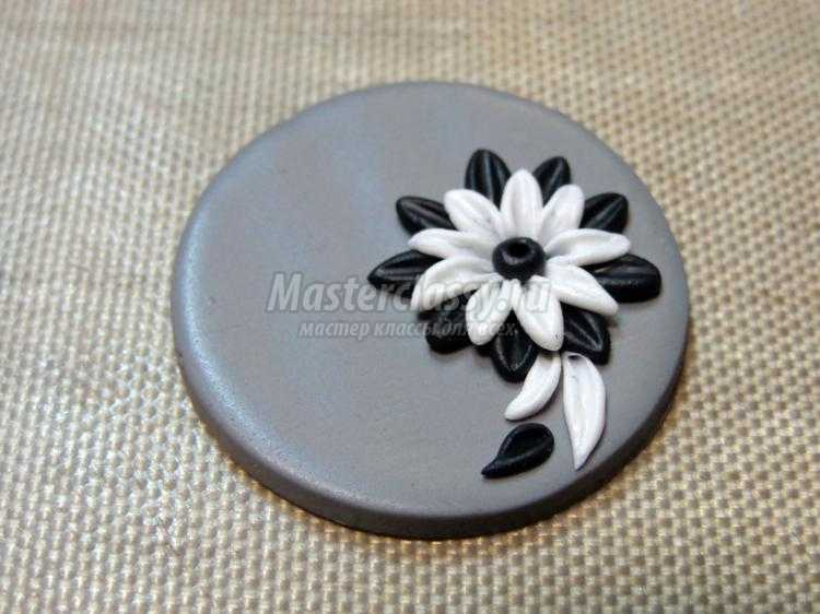 черно-белые серьги из полимерной глины филигрань