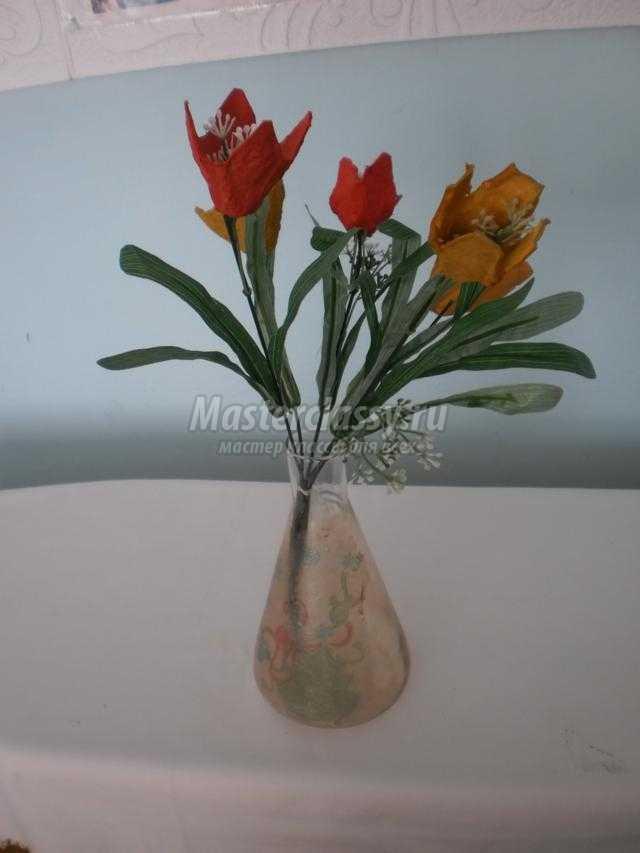 тюльпаны из яичных ячеек своими руками