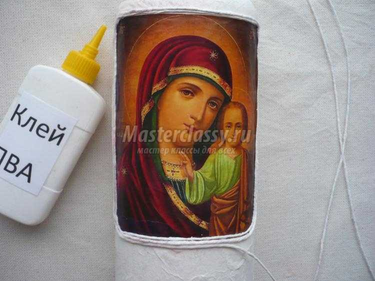 декупаж. Бутылка для святой воды