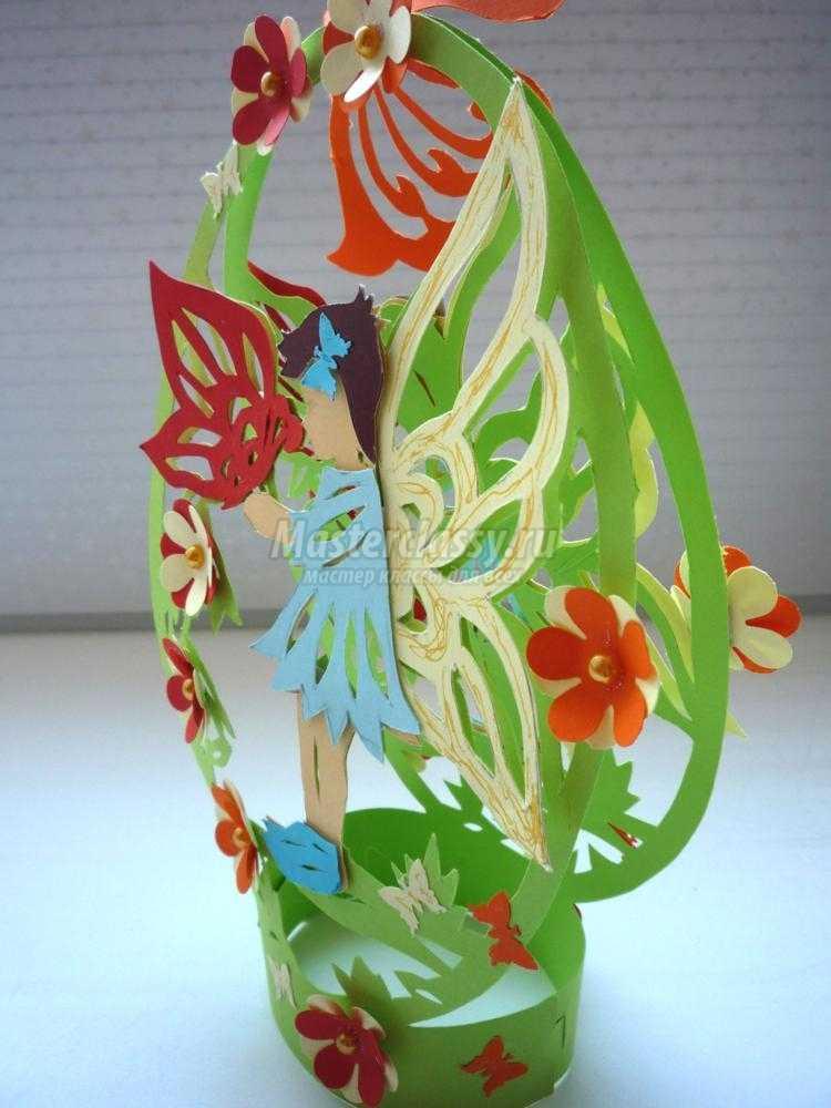 резная открытка в технике киригами. Маленькая фея