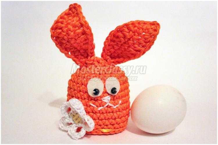 вязаная грелка для яйца. Зайчик