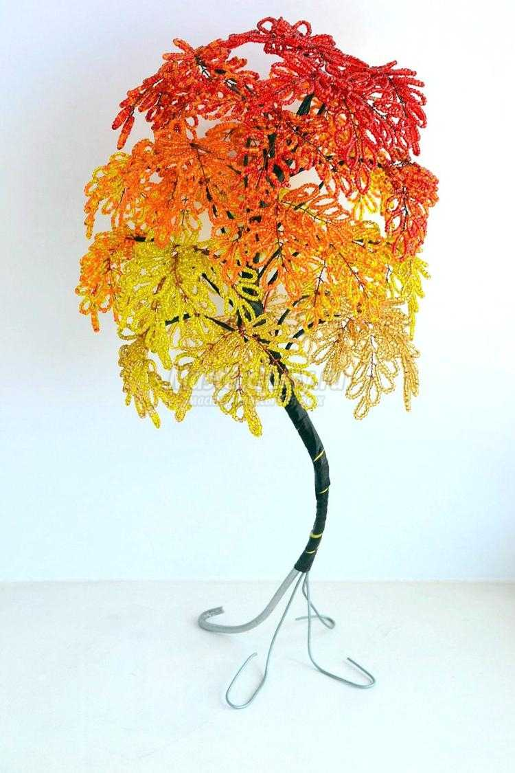 схема дерева из бисера длина проволоки 45 см