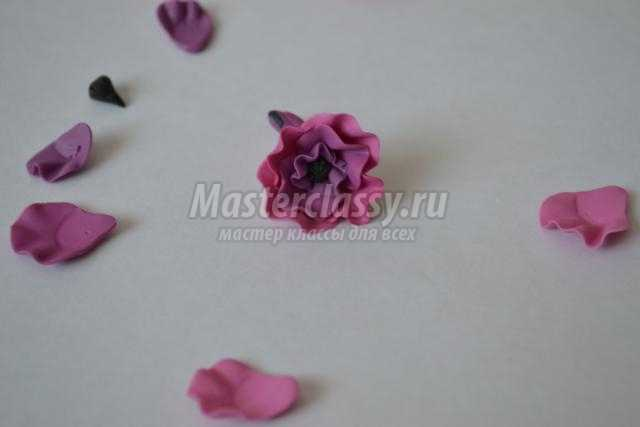 заколки для волос из полимерной глины. Весенние цветы