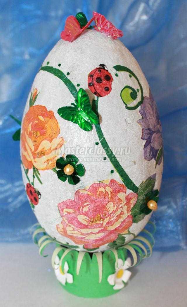 декорирование пасхального яйца в технике папье-маше и декупаж