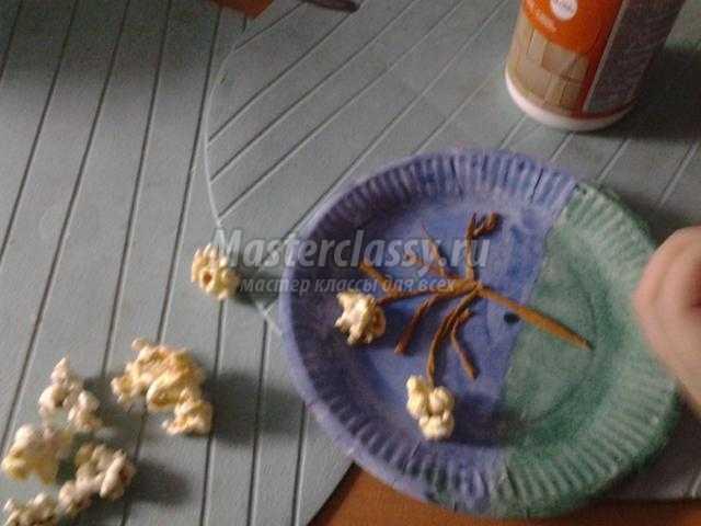 декоративное панно из попкорна. Цветущая яблонька