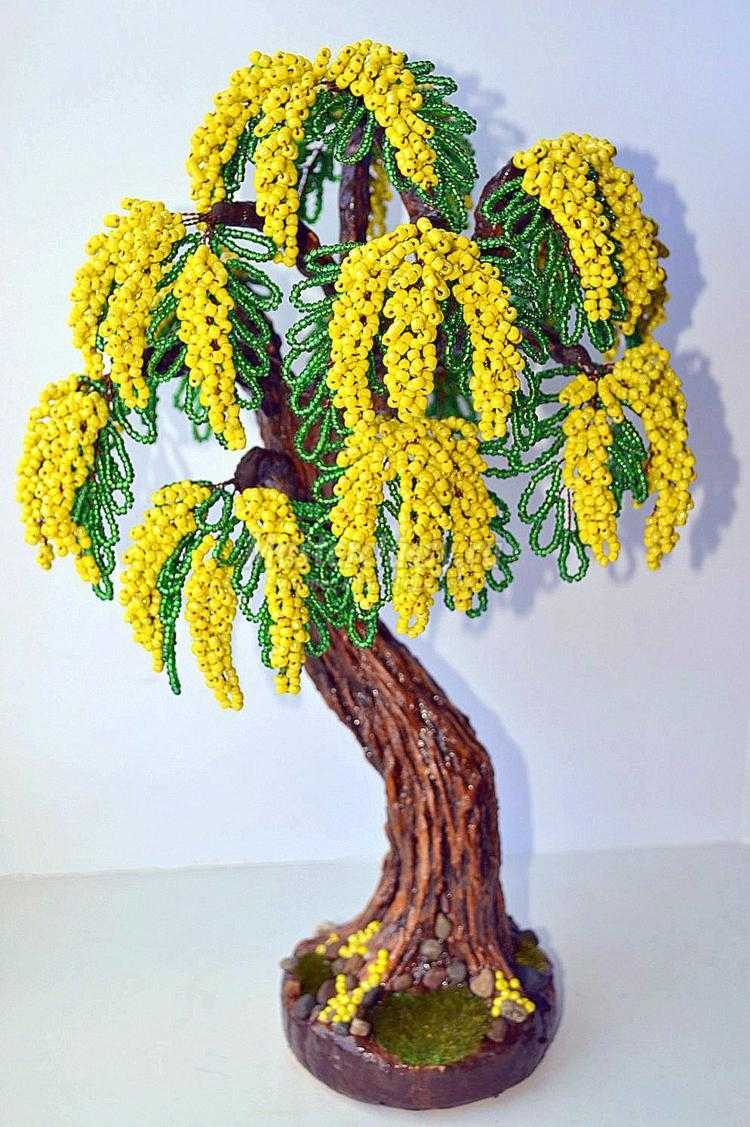 Плетение желтой мимозы из бисера в подробном фото-видео уроке