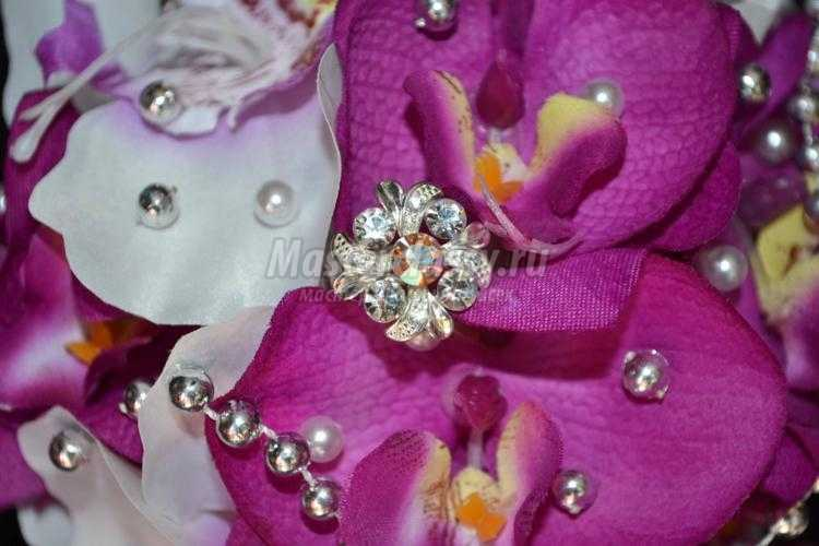 топиарий из текстильных орхидей. Фуксия в серебре