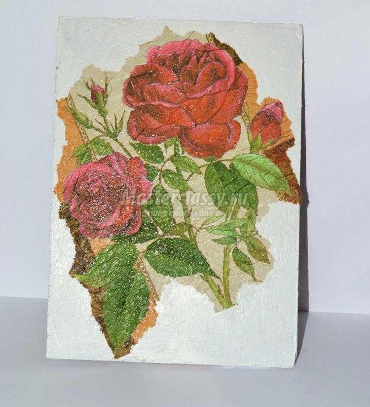 декупаж картина. Винтажная роза