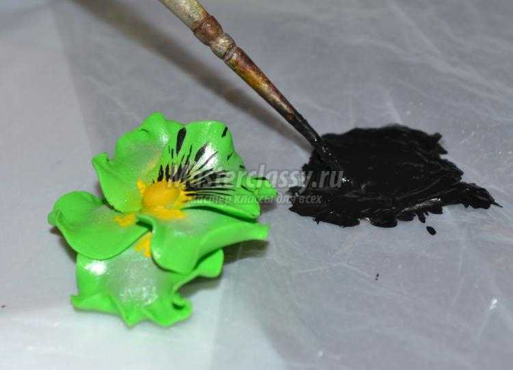 комплект украшений из полимерной глины. Анютины глазки