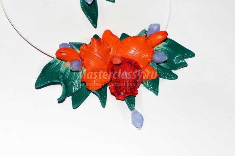 комплект украшений из полимерной глины. Орхидеи