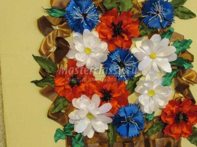 панно с цветами из лент. Русское поле в корзинке