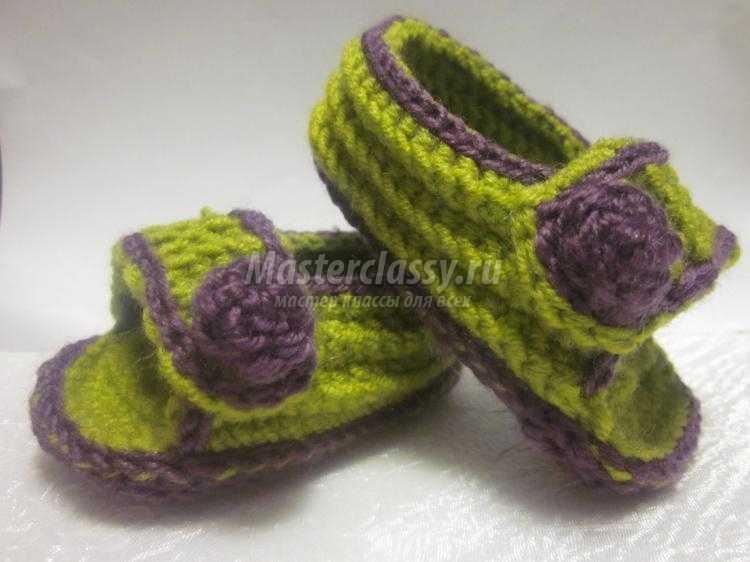 вязаные сандалики крючком для малышей от 6 до 12 месяцев мастер