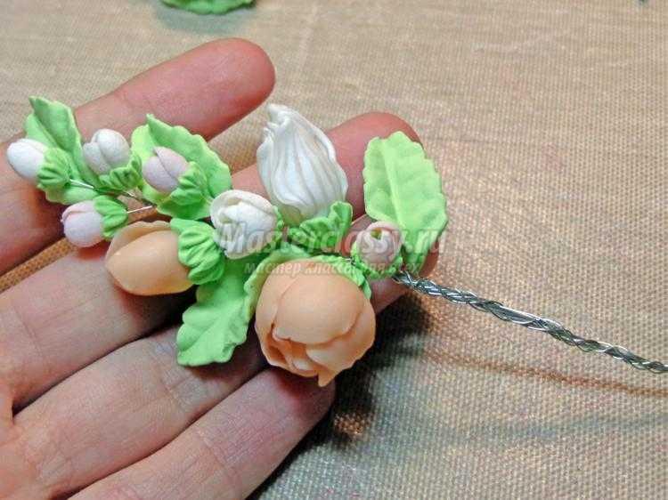 свадебный комплект украшений из полимерной глины