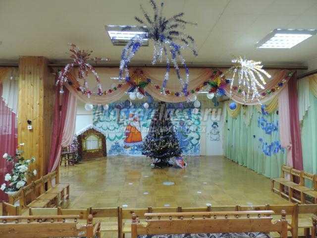 оформление музыкального зала на Новый год в детском саду