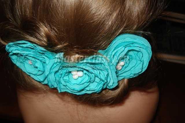 Повязка для волос с цветами из шелка