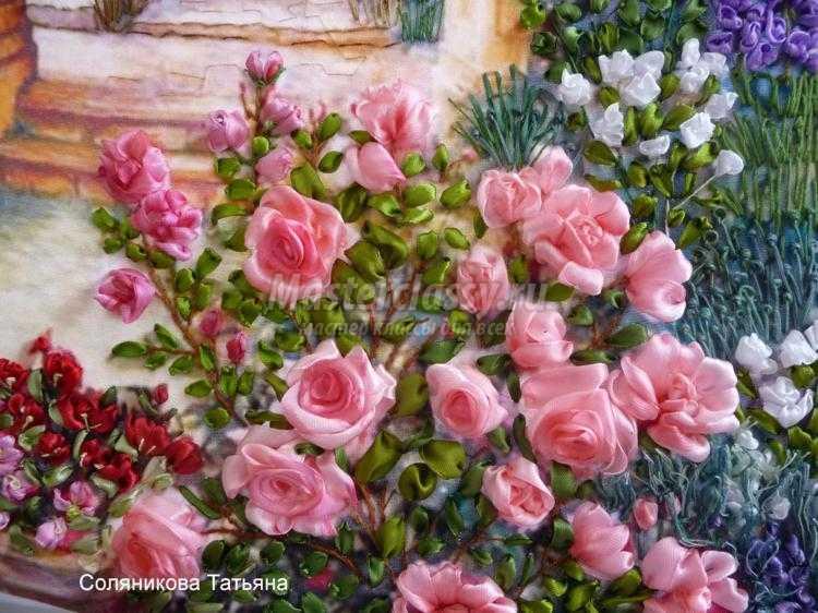 вышивка лентами картины. Розовый рай