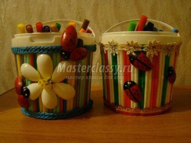 карандашницы из майонезных ведер с ромашками