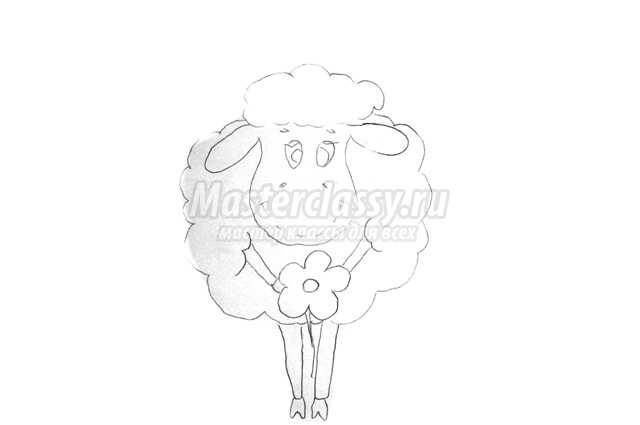 Аппликация из бумаги овечка