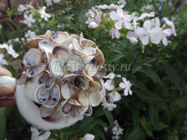 Цветы из ракушек своими руками мастер класс фото