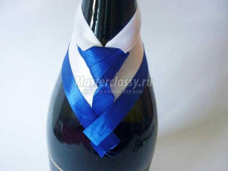 Украшение шампанского лентами мастер класс в бело синем цвете
