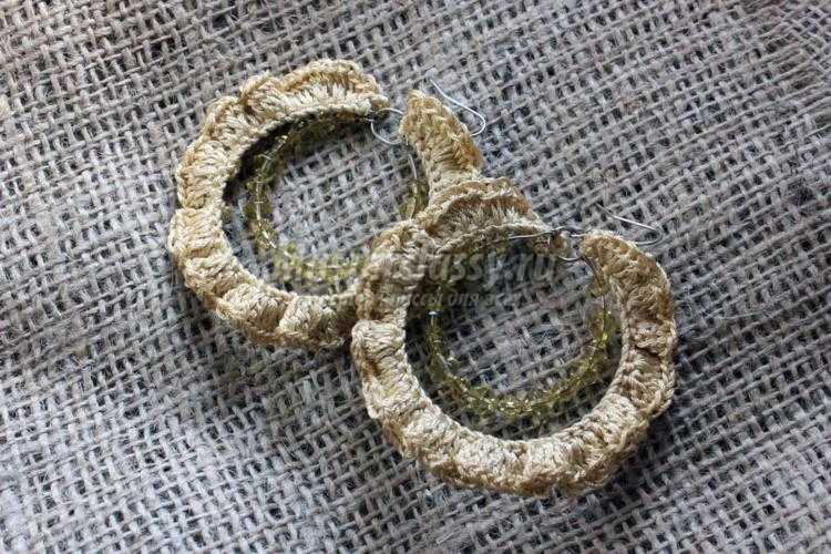 вязаные серьги крючком из мемори-проволоки