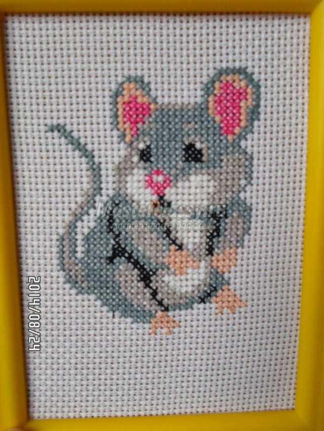 вышивка крестиком картины. Мышонок
