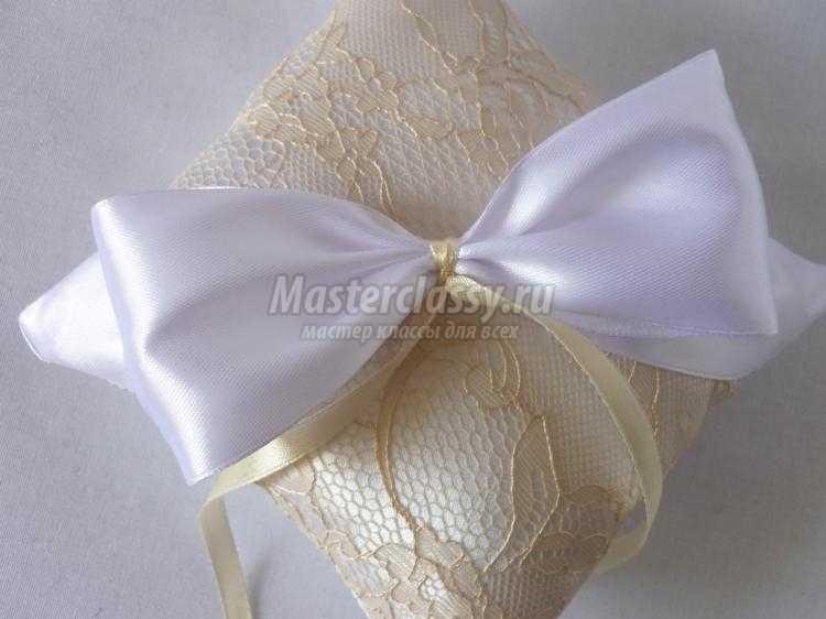 свадебная подушечка для колец. Крем-брюле