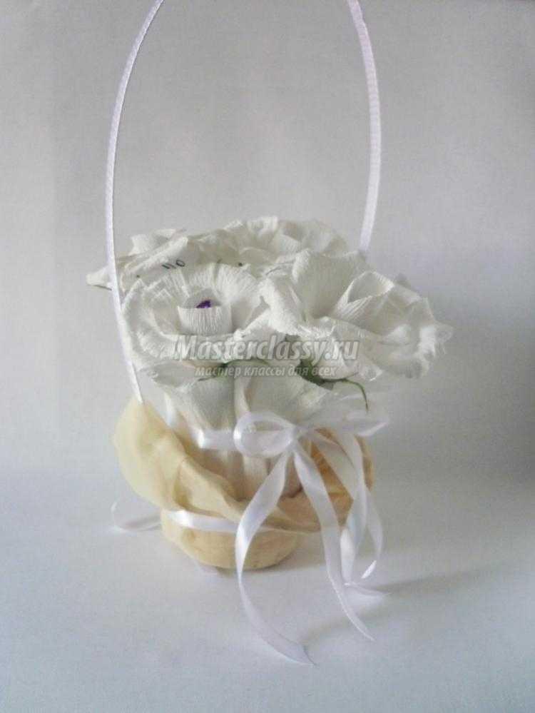 корзинка с букетом из конфет для молодоженов