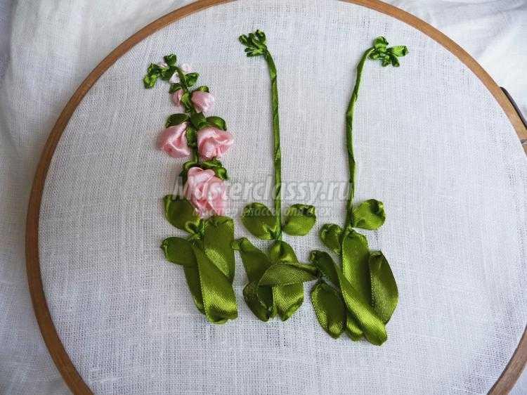 Цветы мелкие вышивка лентами
