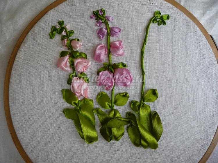 Мелкие цветочки лентами вышивка