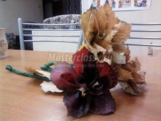 роза из листьев своими руками