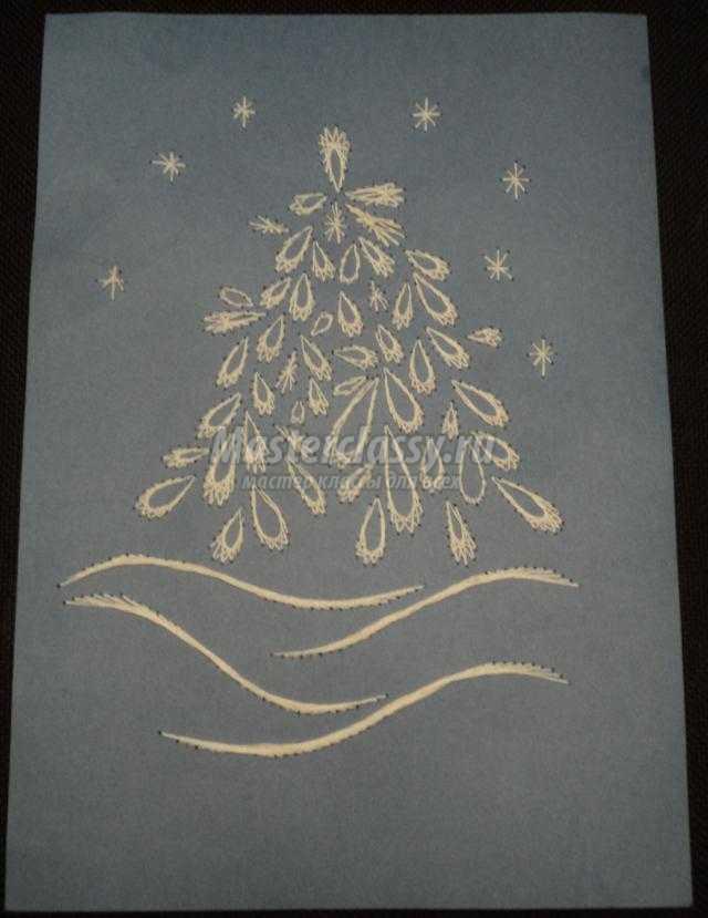 изонить. Новогодняя открытка с елочкой