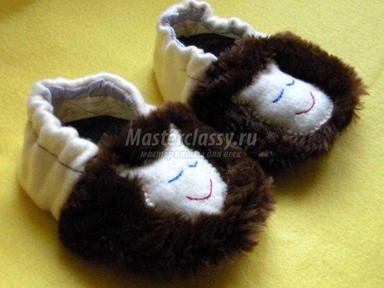 теплые детские тапочки из флиса и цигейки