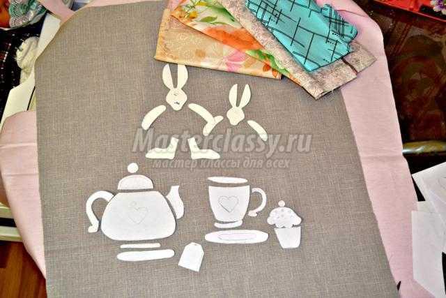 текстильное панно своими руками. Зайцы