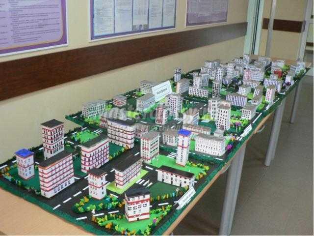 строительство города из бумаги и картона