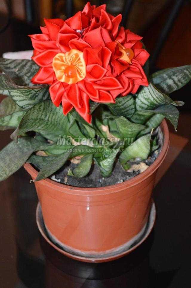 цветы в технике канзаши. Осенние георгины