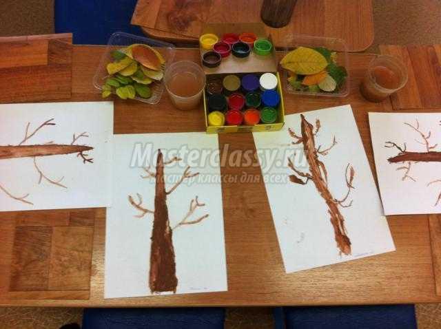 конспект НОД в подготовительной группе в ДОУ по рисованию. Осеннее дерево