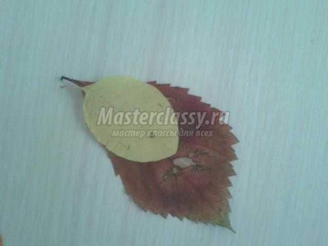 картина с аппликацией из листьев и цветов. Жар-птица
