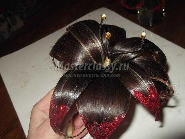 Цветы из волос своими рук