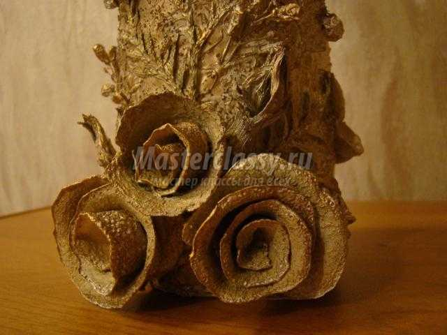 ваза из баночек в технике терра